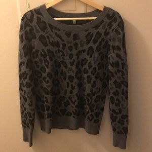 Halogen Gray Leopard Sweater